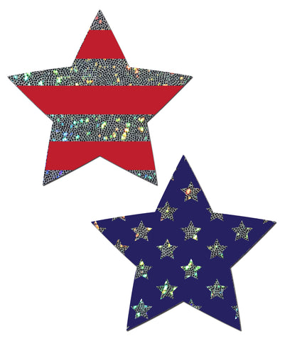 Pastease: Glittering Stars & Stripes Patriotic Star Pasties - Chynna Dolls Swimwear