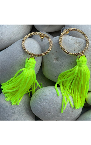 Earring: Gold Hoop Tassel Earrings in Neon Yellow - Chynna Dolls Swimwear
