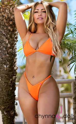 Sorrento: High Cut Bikini in Neon Orange - Chynna Dolls Swimwear