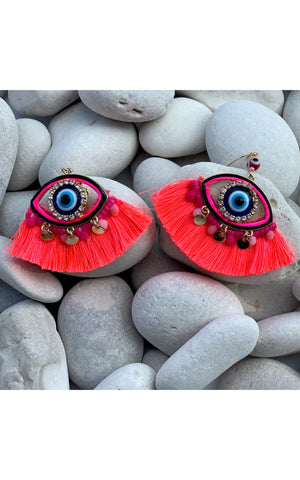 Earring: Evil Eye Beaded Tassel Earrings in Neon Pink - Chynna Dolls Swimwear