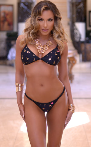 Venice: Micro Bathing Suit in Gold Palms - Chynna Dolls Swimwear