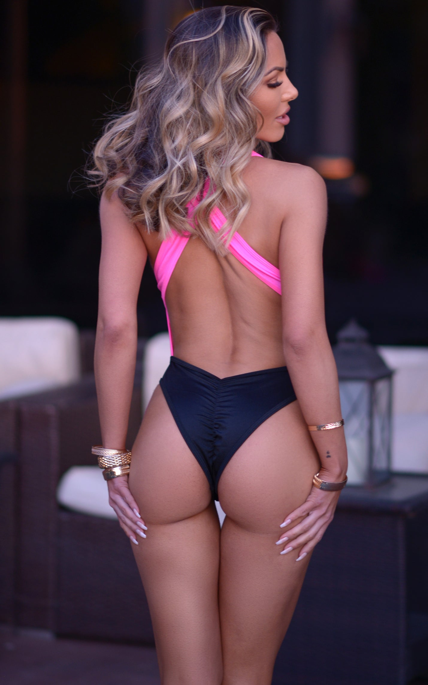 Verona: Color Block High Cut Monokini in Neon Pink x Black - Chynna Dolls Swimwear