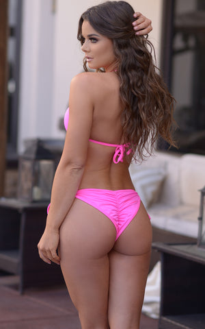 Victoria: Padded Push Up Swimsuit w/ Gold Rings Details in Neon Pink - Chynna Dolls