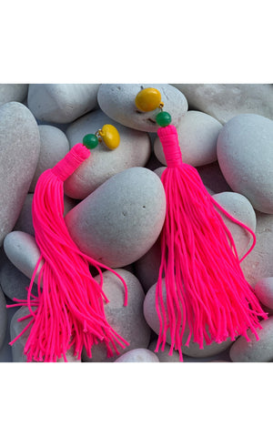 Earring: Long Tassel Earrings in Red, Royal Blue and Neon Pink - Chynna Dolls Swimwear