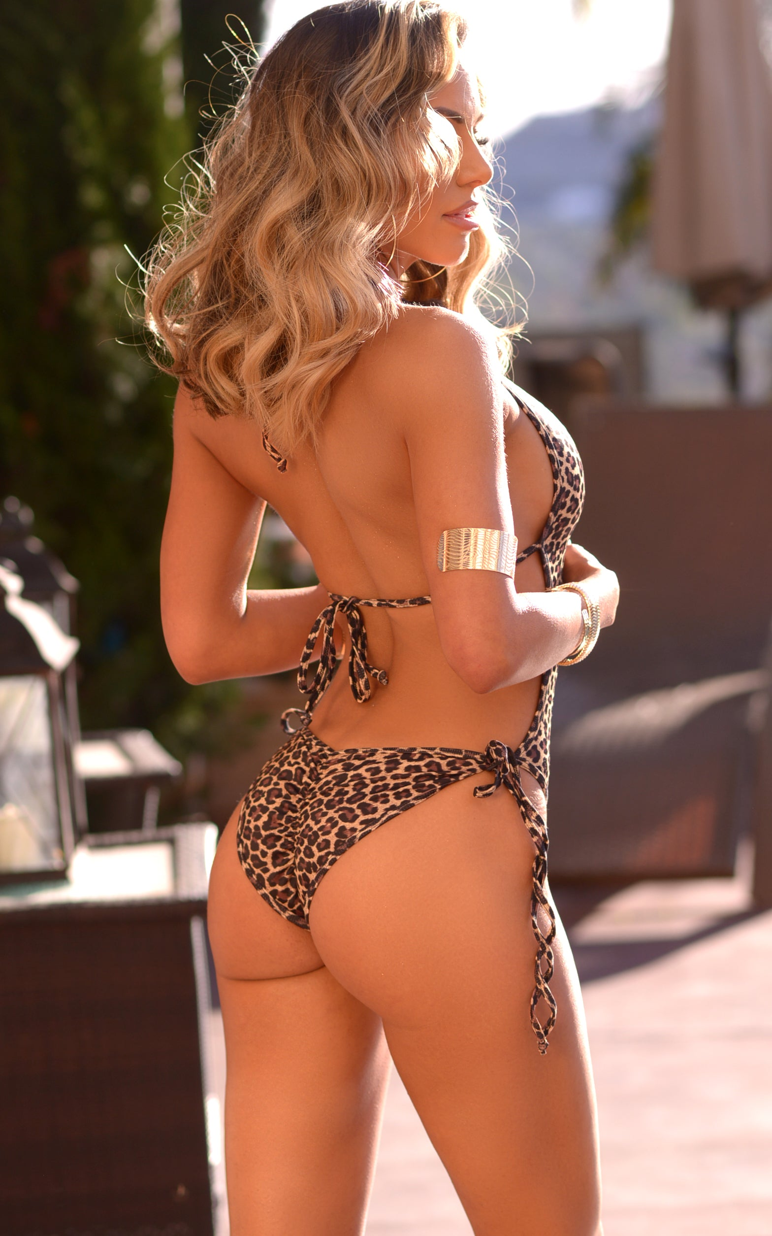 Westwood: Deep Plunge One Piece with Gold Loops in Leopard - Chynna Dolls Swimwear