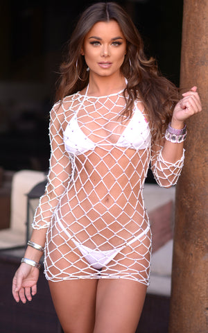 Vida: Beaded Crochet Long Sleeve Dress - Chynna Dolls Swimwear