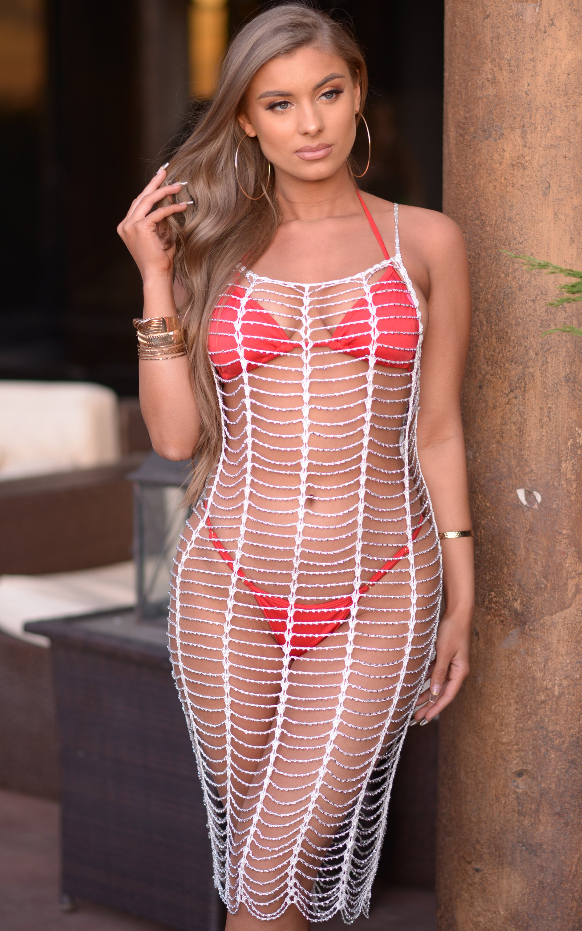 Aileen: Metallic Silver Beaded Fishnet Dress in White - Chynna Dolls Swimwear