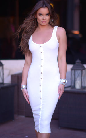 Alana: Ribbed Button Front Bodycon Dress in White - Chynna Dolls Swimwear