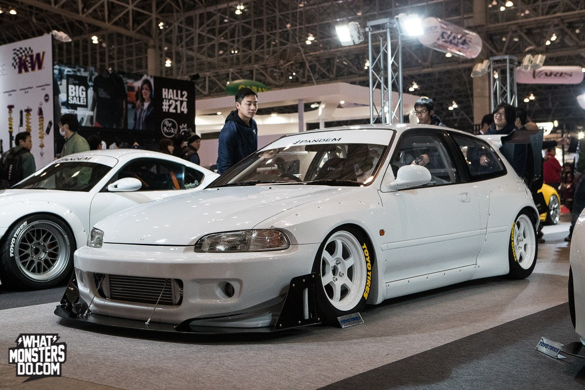 Pandem Honda Civic EG white te37 wing