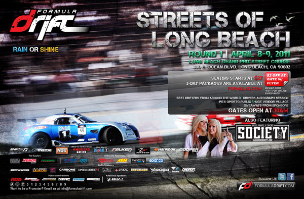 Formula Drift 2011 Round 1 flyer with ryan tuerck gardela racing solstice