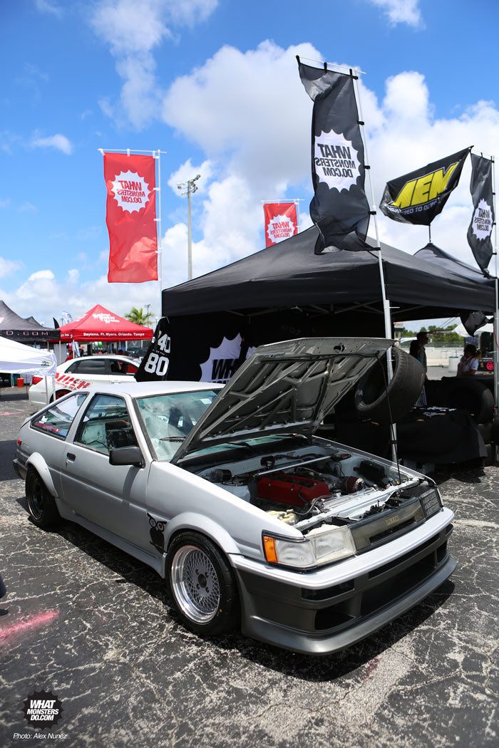 John's Toyota Corola AE86 Hachi Roku on Enkei Enkei92 old school wheels at Formula Drift Palm Beach in the WMD What Monsters Do tent Tueno Levin Drift Car with s2000 motor s2k