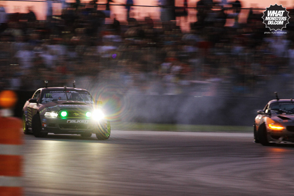 Vaughn Gittin jr Monster Energy Falken Tire Mustang vs michael Essa bmw z4 photo by Kyle McManus