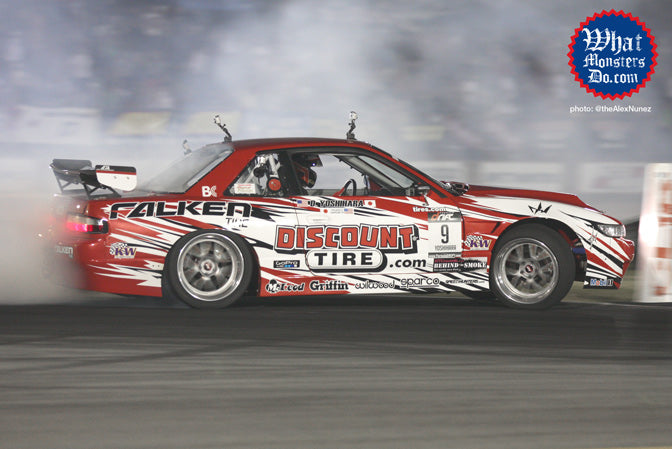 Dai Yoshihara wins formula drift round two in atlanta in discount tire nissan s13