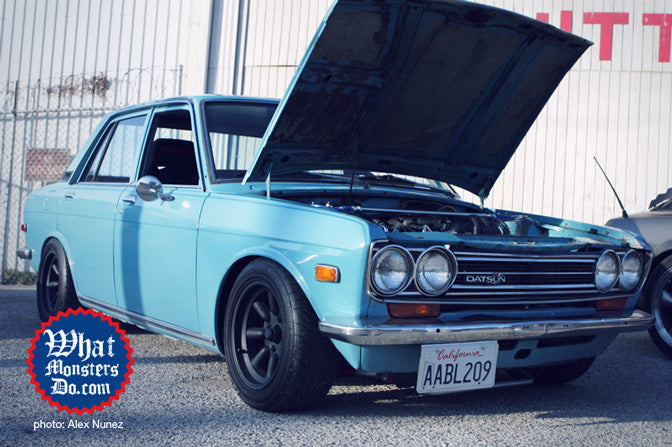 blue datsun 510 four door