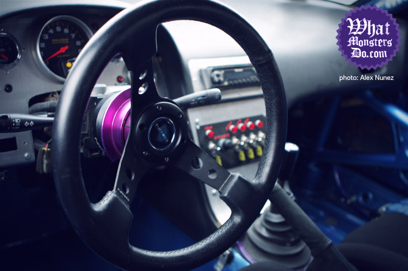 the dash and steering wheel of nissan 240sx on enkei rpf1 lightweight wheels. xdc driver nate hamilton in dallas texas