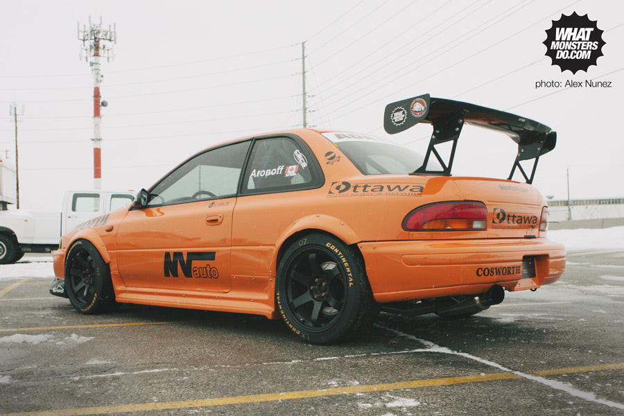 Orange Subaru sti at Canadian Motorsports Expo