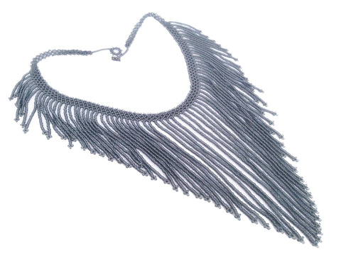 Grey Beaded Fringe Statement Necklace