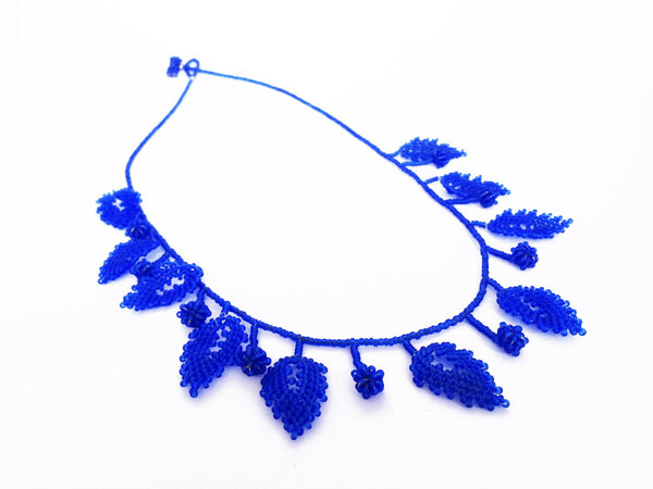 Dazzling Blue Leaf Statement Necklaces