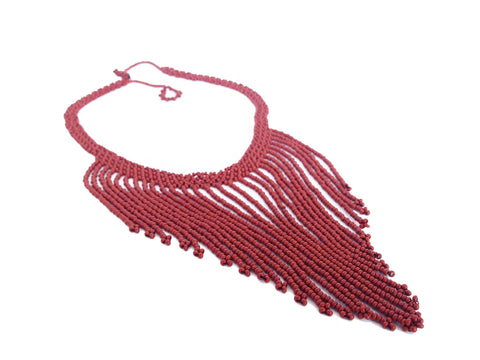 Burgundy Beaded Fringe Statement Necklace