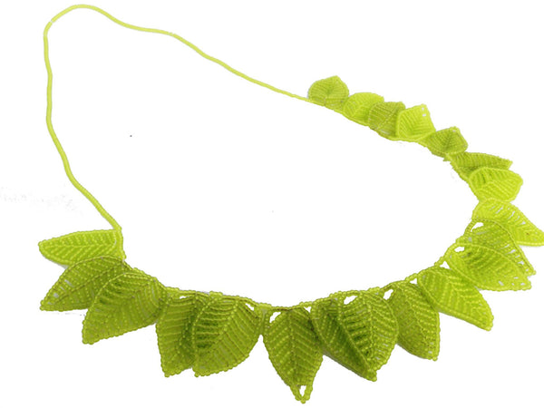 Acid Green -Beaded Leaf Statement Necklace