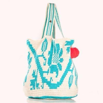 Crochet Tote Bag in Nude and Blue with Pom-Pom bag charm