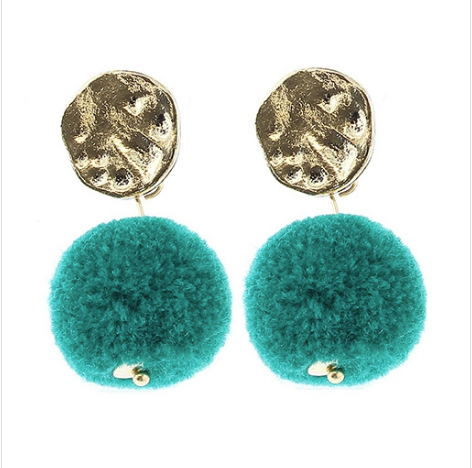 Teal Pom - Pom Dangling Earrings