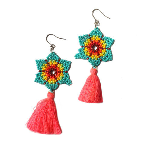 Flower Statement Earrings with Neon Tassel
