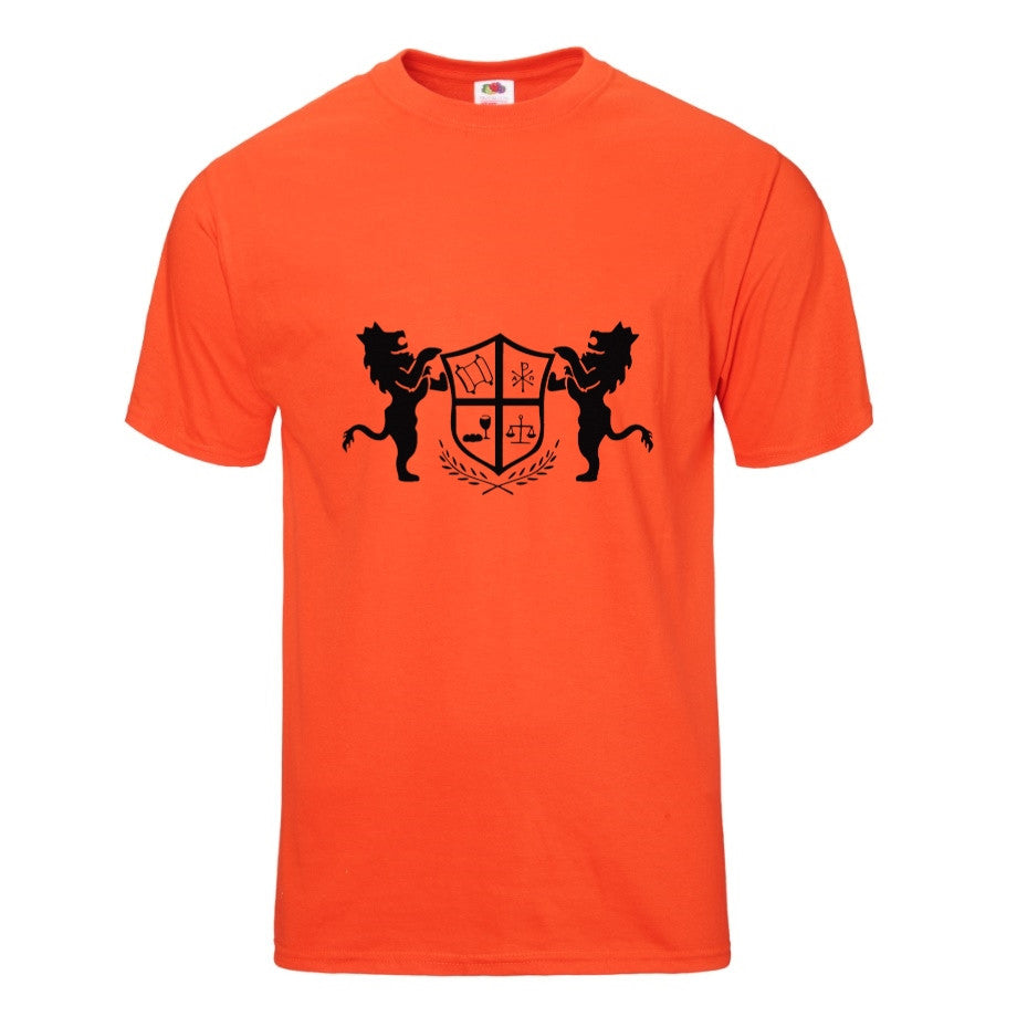 T-Shirt Crowned Lions and Symbolic Shield in Burnt Orange
