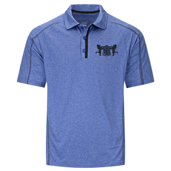 Men's Heathered Performance Polo with Crowned Lions