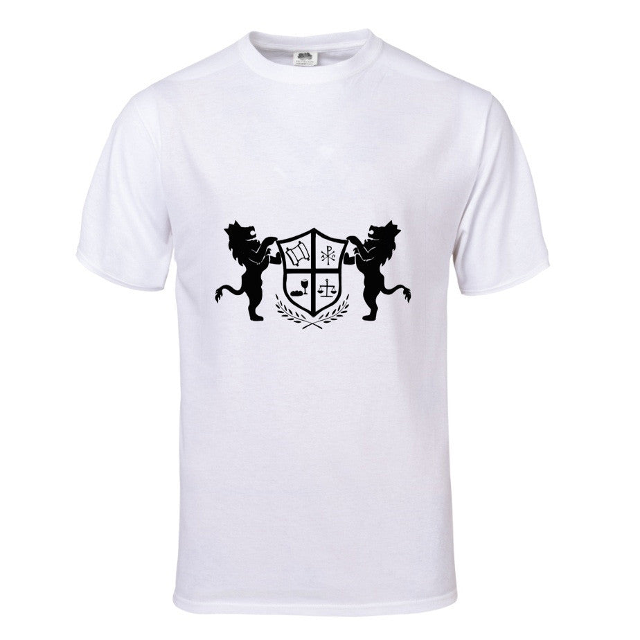 T-Shirt with Crowned Lions and Symbolic Shield in White