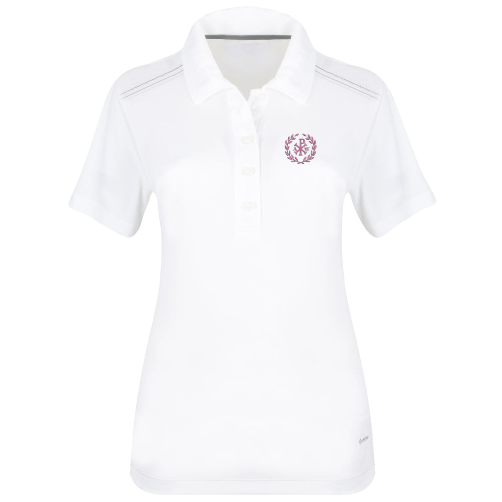Women's White Polo with Embroidered Christogram