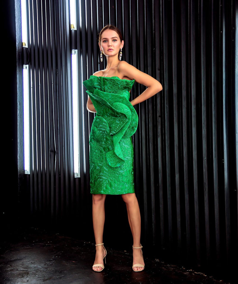 Green Ruffle Cocktail Dress