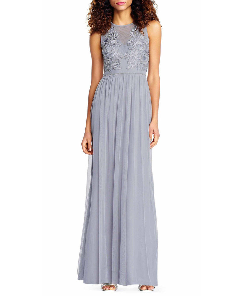 Embroidered Mesh Bodice Gown