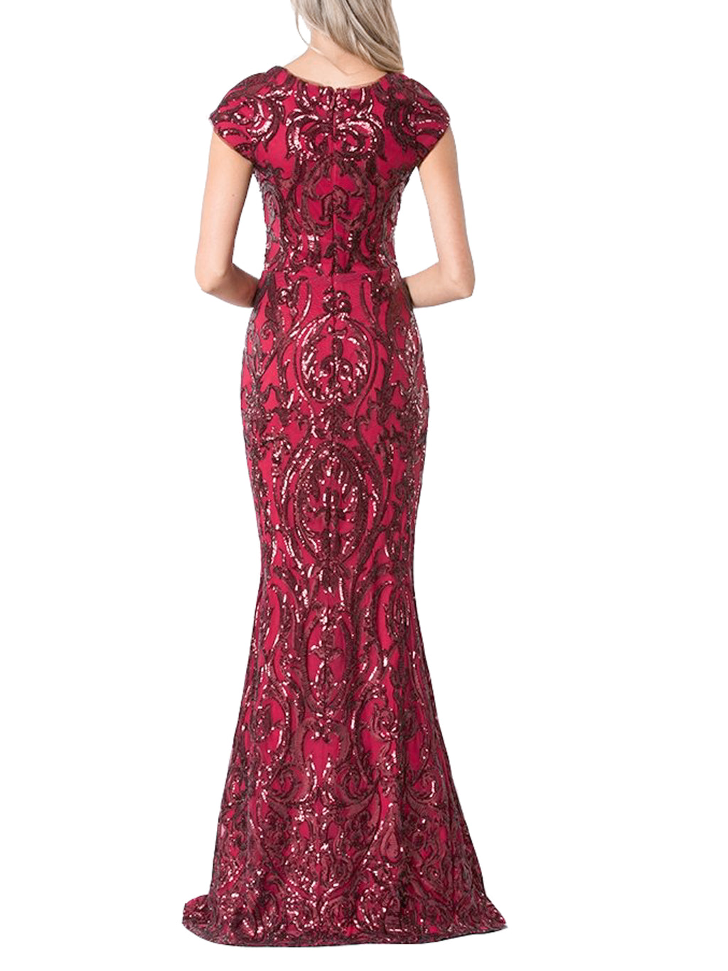 Garnet Cap Sleeved Patterned Sequined Gown - Bariano - Covetella Dress Rentals