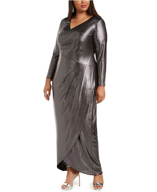 Metallic Grey Full Sleeves Gown