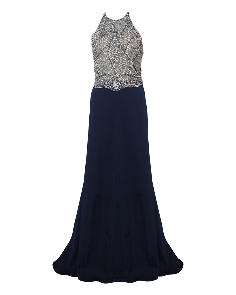 Sequined Bodice Halter Gown - Glow Dress - Covetella Dress Rentals