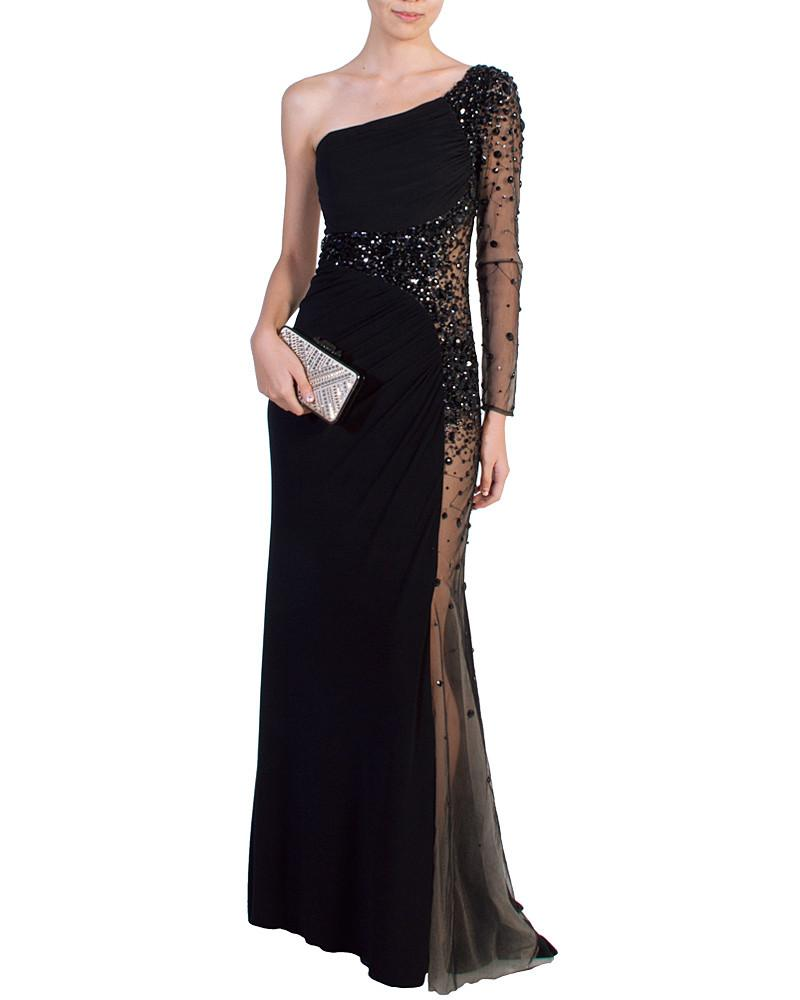 Black Asymmetric Jeweled Gown by Night Moves - Rent or Buy It at Covetella