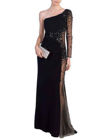 Black Asymmetric Jeweled Gown - Night Moves - Covetella Dress Rentals