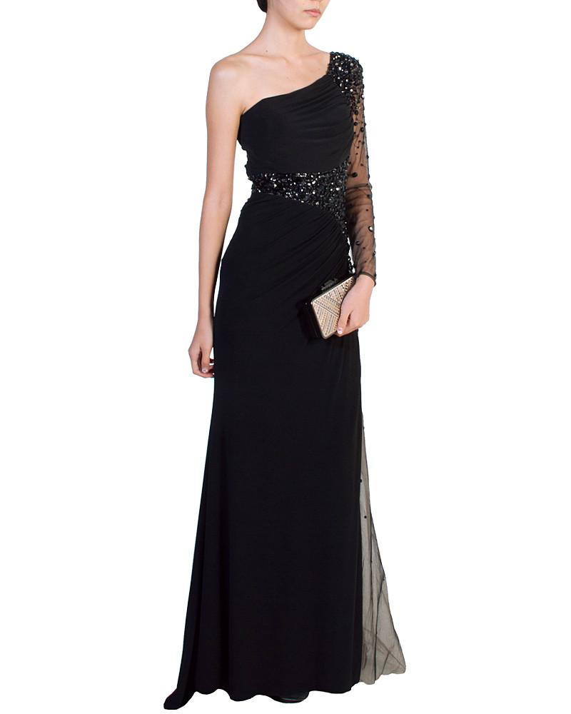 8f7db8398 Black Asymmetric Jeweled Gown by Night Moves - Rent or Buy It at Covetella  · Night Moves One-Shoulder ...