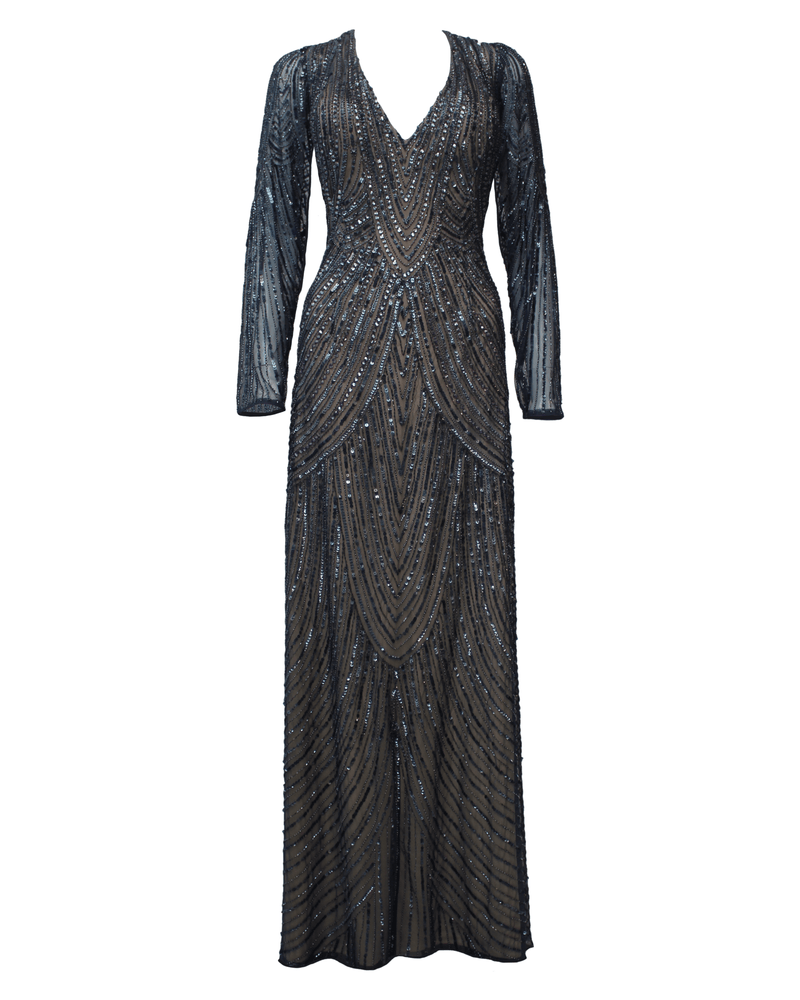 Long Sleeved Sequined Gown - Scala - Covetella Dress Rentals