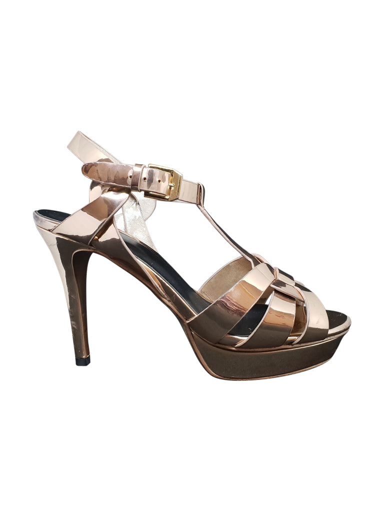 Rose Gold Criss Cross T-Bar Heels
