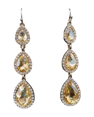 Gold Stone Tear Drops Earrings