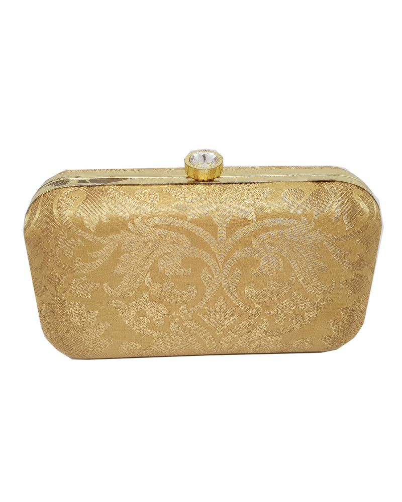 Patterned Silk Gold Clutch