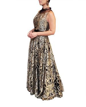 High Neck Gold Gown