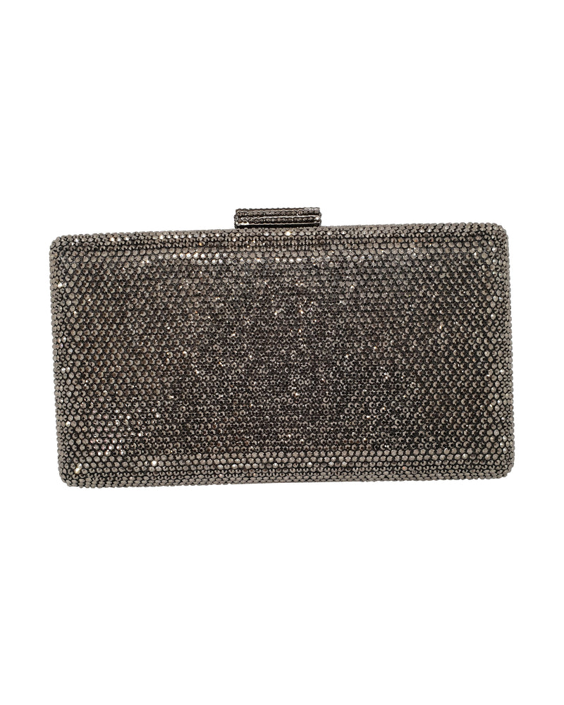 Grey Crystal Rectangle Clutch