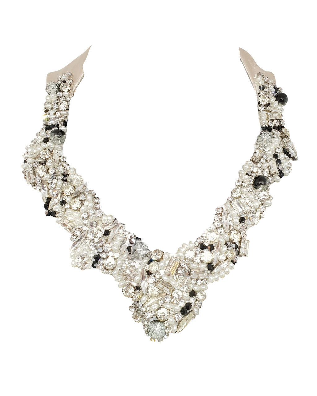 Beaded Crystal Satin Necklace