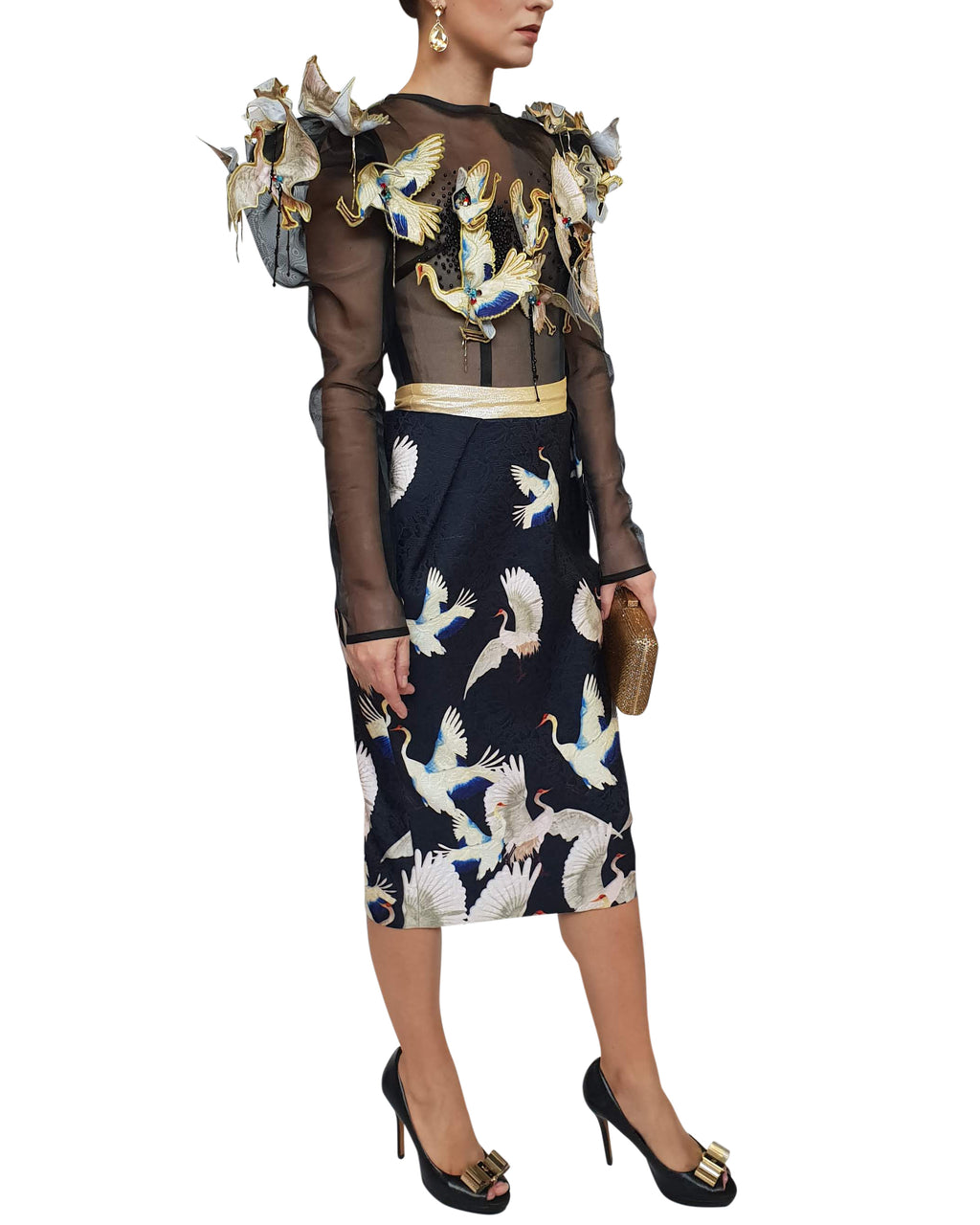 Full Sleeves Bird Cocktail Dress