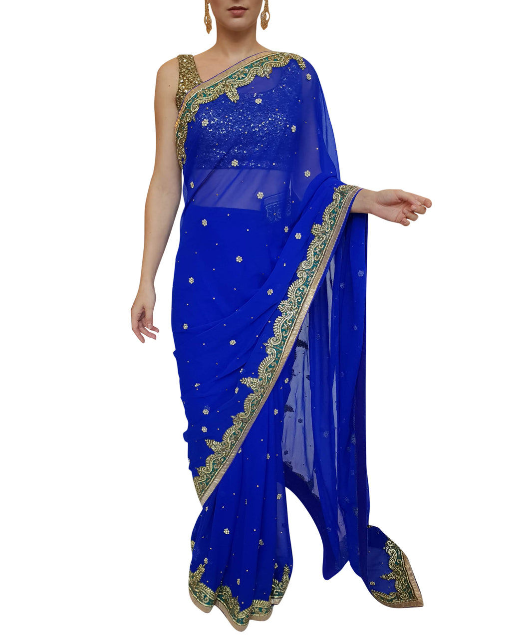 Royal Blue Readymade Saree