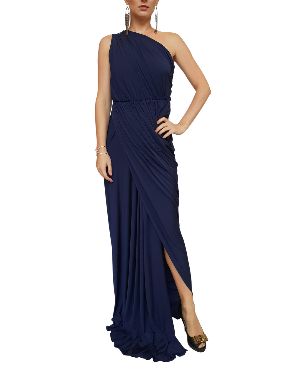 Asymmetric One-Shoulder Grecian Gown