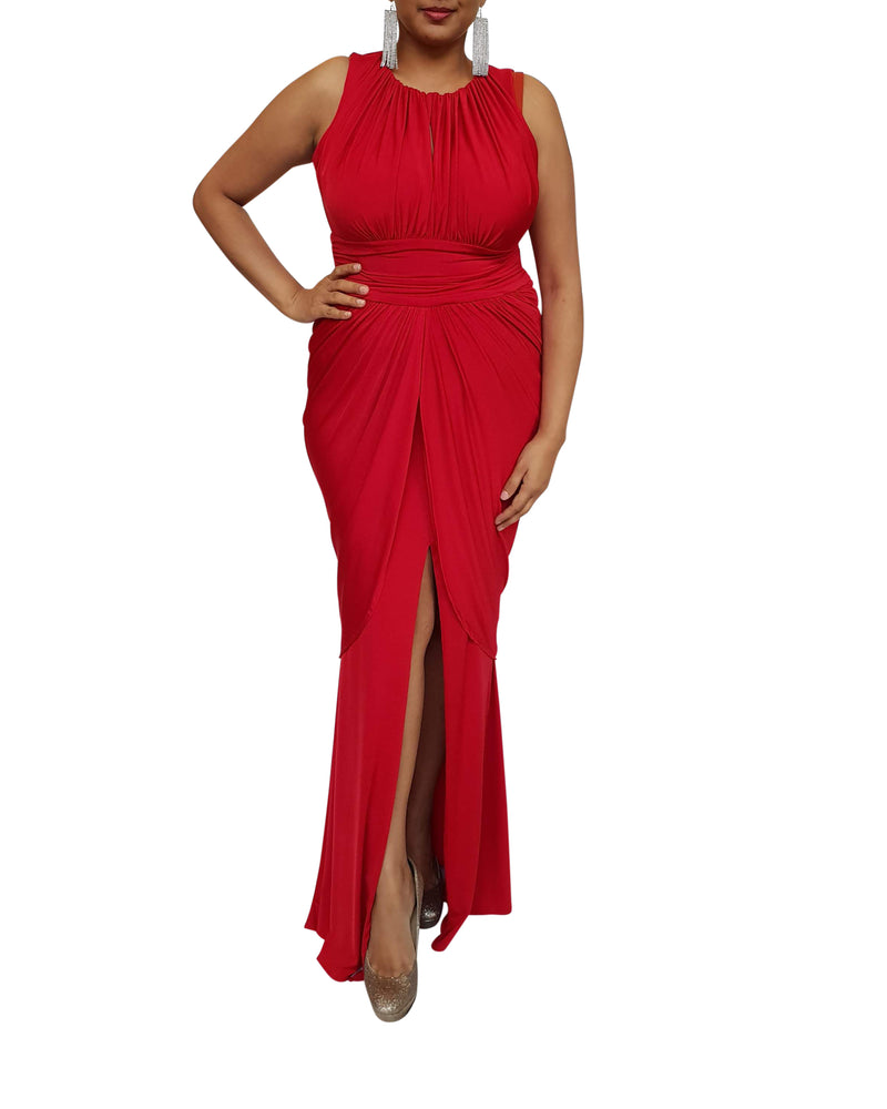 Sleeveless Draped Keyhole Jersey Dress